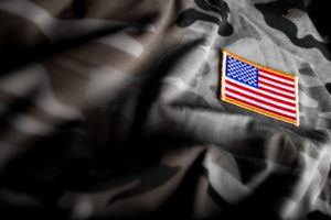 American flag patch on camouflage